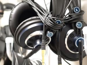 Nahaufnahme eines Studio-Kopfhörers